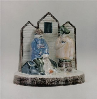 Rye Pottery - Pastoral Collection - The Net Menders ht 17cm 6.75in designer Chris O Donoghue