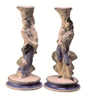 Rye Pottery - Tall Candlesticks ht 27.4 cm 10.75in also available in pink