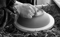 Steve Russell Throwing on the wheel for Rye Pottery