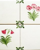 Rye Pottery hand-painted Flower Tiles - Leaf corners &lowers, other colourways available