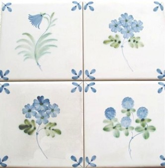 Rye TIles Blue leaf corners & flowers, hand painted 6 inch tiles other volourways available