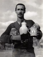 Walter Vivian Cole with mid century Rye Pottery samples