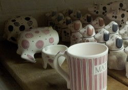 Sussex Pigs - ceramic pigs painted individually to order and waiting to be fired in the kiln