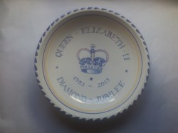 Rye Pottery_Commemorative ware_Queen's Coronation - A one-off hand-painted bowl