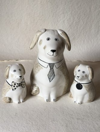 Rye Pottery Hand-made and painted Ceramic Dogs and Puppies