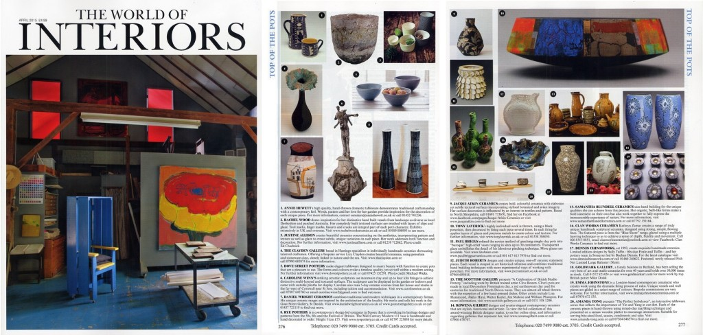 World of Interiors - Top of the Pots - Mid Century Modern - Ceramics - Rye Pottery April 2015 sm1