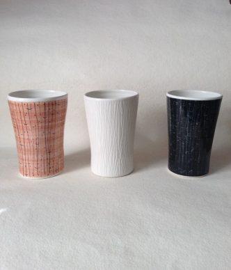 Mid Century Modern Beaker Vase BK1 Hand made and hand painted