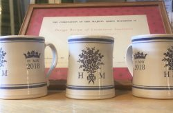 Traditional Souvenir Mugs or tankards by Rye Pottery to mark the Royal Wedding of Prince Harry and Meghan Markle