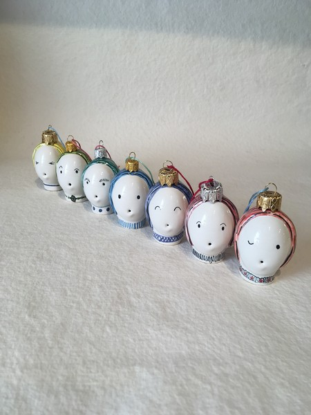 Hand made ceramic Bauble Gift Christmas decoration unusual gift - Rye Pottery Hand made and painted Bauble heads Gift Doll head bauble 10
